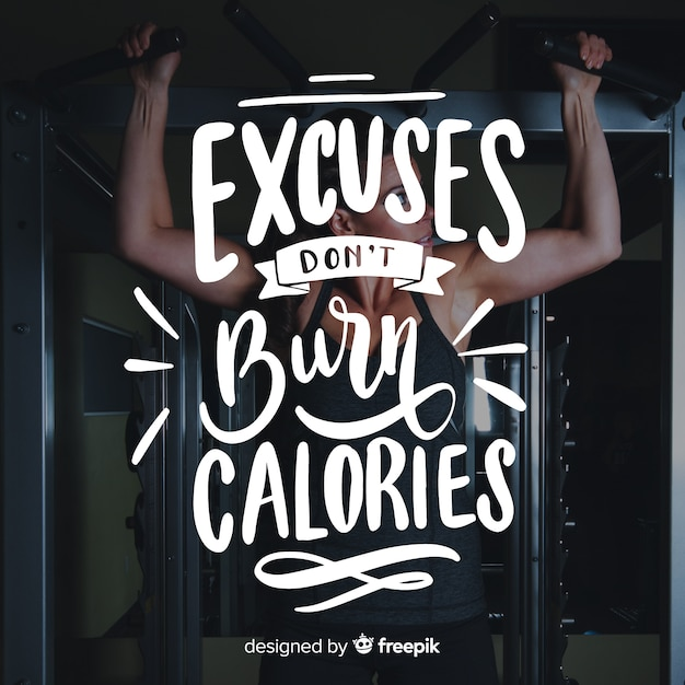 Motivational sport lettering background with photo Free Vector
