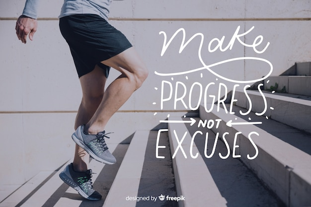 Motivational sport lettering background with picture Free Vector