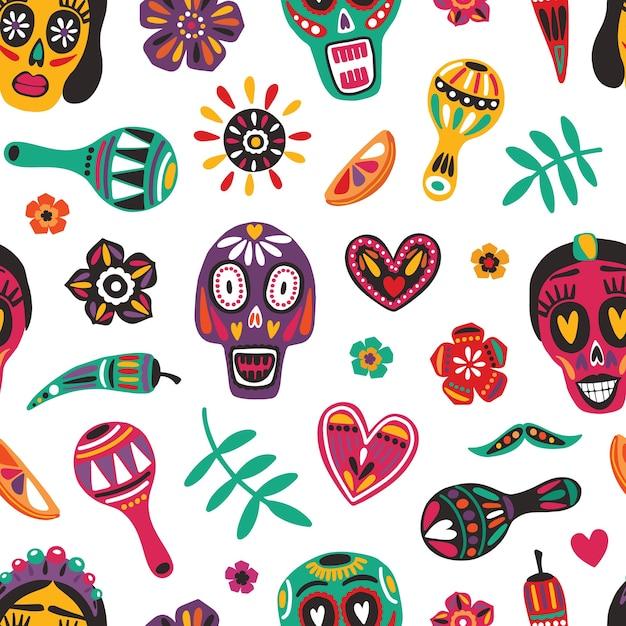 Motley seamless pattern with mexican sugar skulls Premium Vector