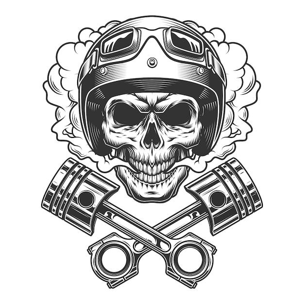 Moto racer skull in smoke cloud Free Vector