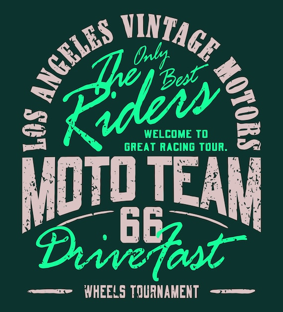 Moto team sportswear sportstyle tシャツベクターグラフィック Premiumベクター