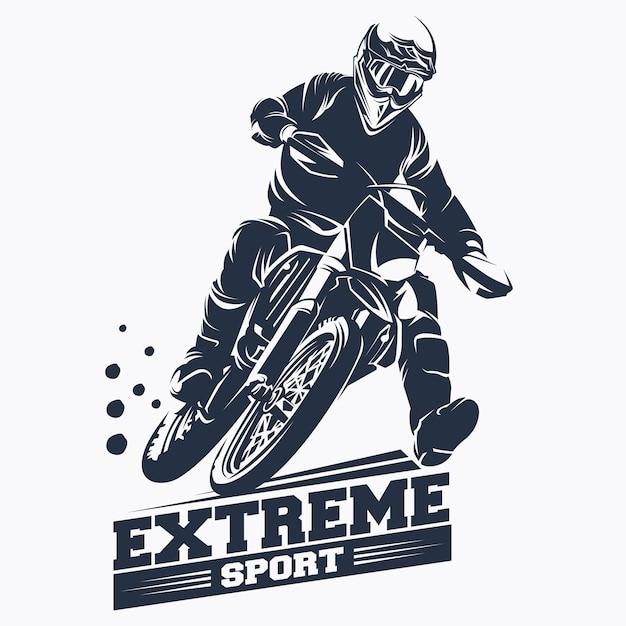Moto track или motocross jump logo vector Premium векторы