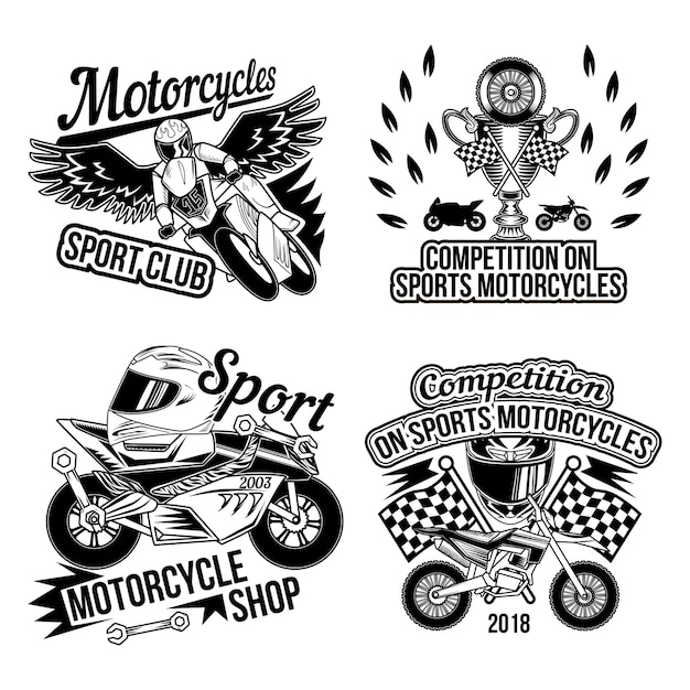 Motoclub은 오토바이 부품 바퀴 바이커 액세서리 및 마무리 레이스 플래그의 고립 된 흑백 이미지로 설정 무료 벡터
