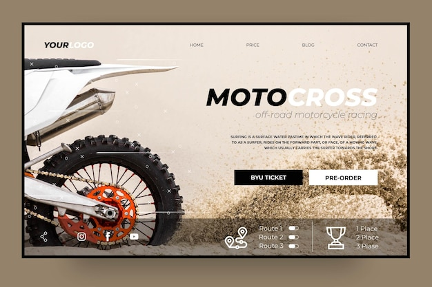Motocross club landing page template Free Vector