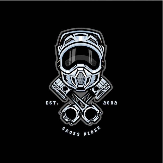 Motocross cross rider badge logo Premium Vector