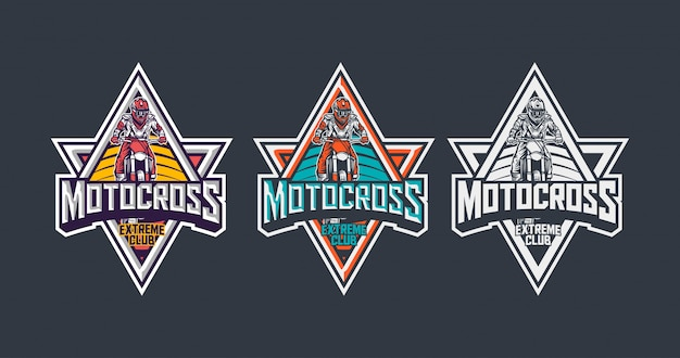 Motocross extreme club premium vintage badge logo design template Premium Vector