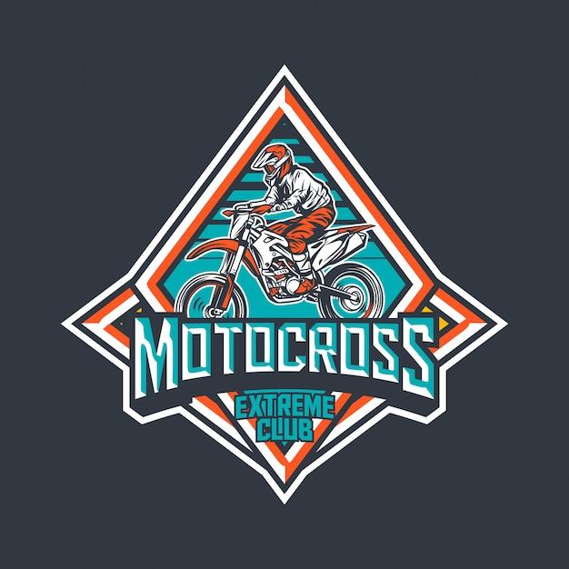 Мотокросс экстрим клуб премиум винтажный значок логотипа дизайн шаблона Premium векторы