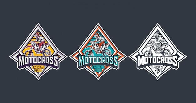 Motocross extreme club premium vintage badge logo label design template pack Premium Vector
