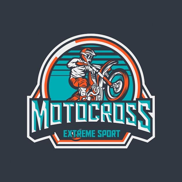 Motocross extreme sport premium vintage badge logo label design template Premium Vector
