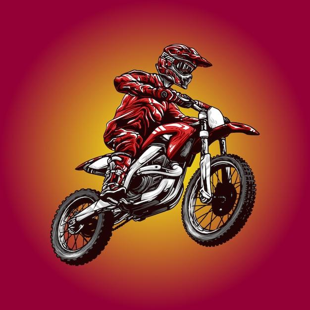 Motocross illustration Premium Vector