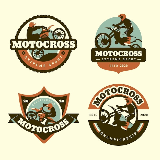 Motocross logo collection design Premium Vector