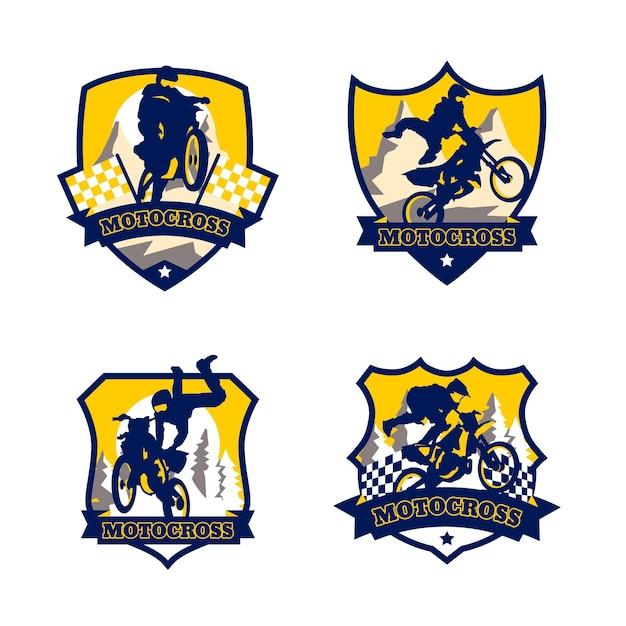 Коллекция логотипов мотокросса Бесплатные векторы
