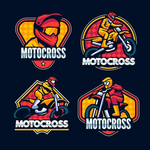 Motocross logo collection Free Vector