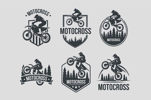 Motocross logo design collection Free Vector