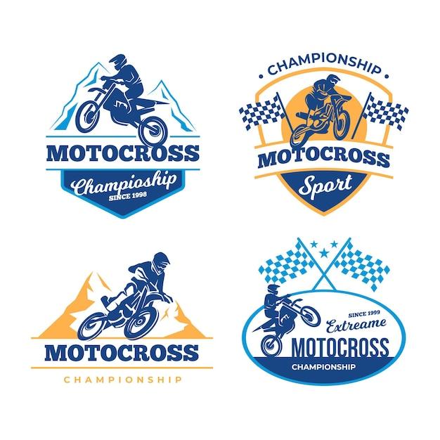 Motocross logo pack Premium Vector