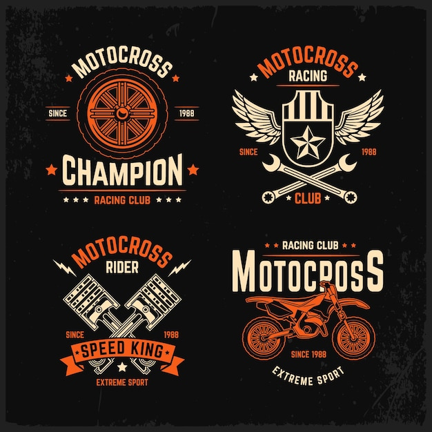 Motocross logo set template Free Vector