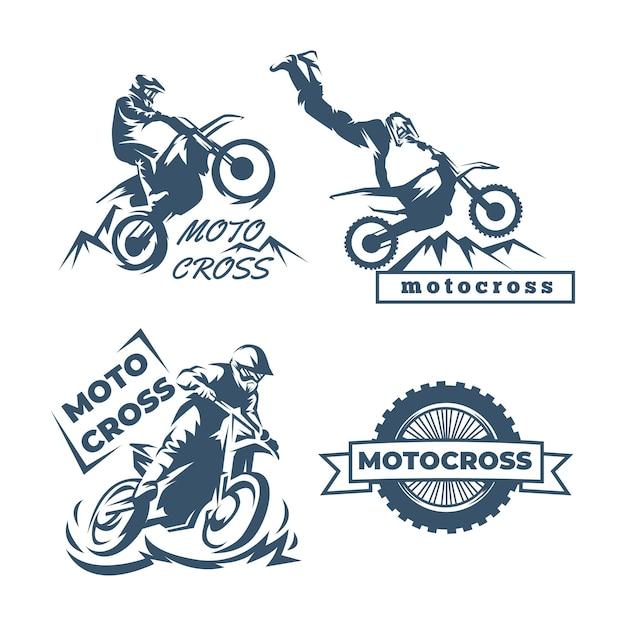 Motocross logo template collection Free Vector