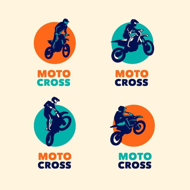 Коллекция шаблонов логотипов мотокросса Бесплатные векторы