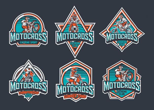 Мотокросс премиум винтажный значок логотипа дизайн этикетки пакет чирок красный Premium векторы
