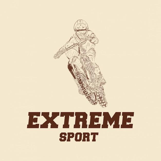 Motocross rider badge logo Premium Vector