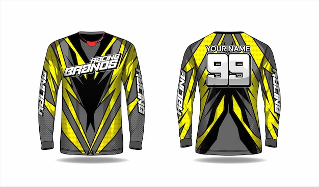 Motocross shirt template, racing jersey design Premium Vector