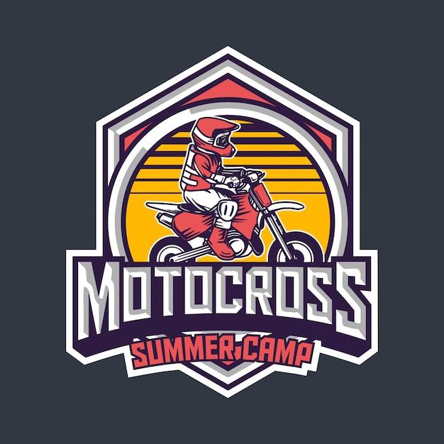 Motocross summer camp for kids premium vintage badge logo design template Premium Vector