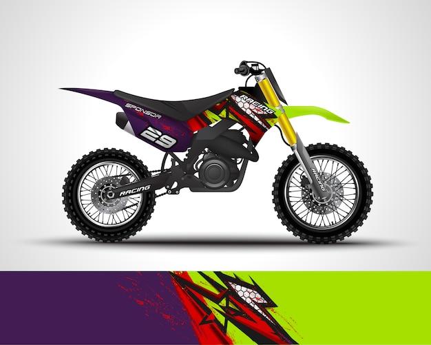 Этикета обруча мотокросса и иллюстрация стикера винила. Premium векторы