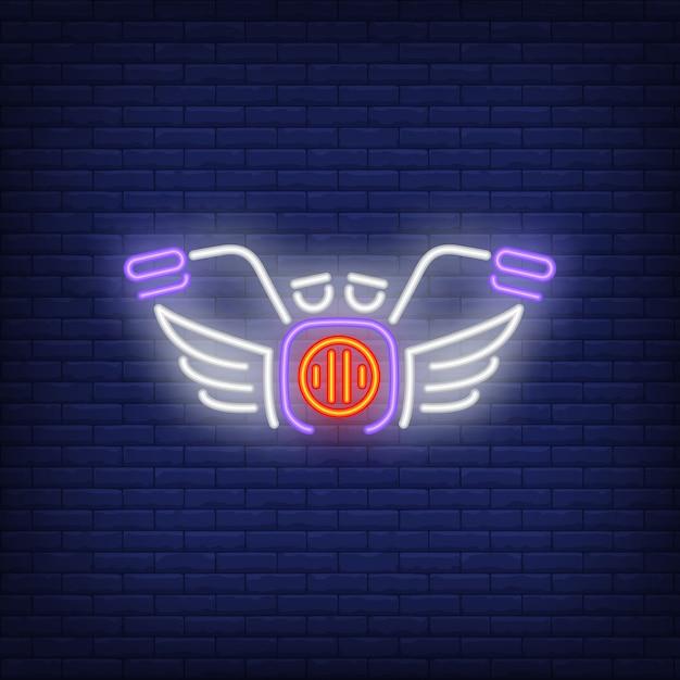Motor bike neon icon Free Vector