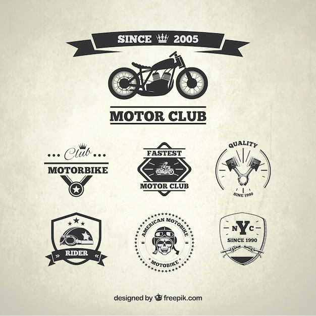 Motor Club Badges Vector Free Download