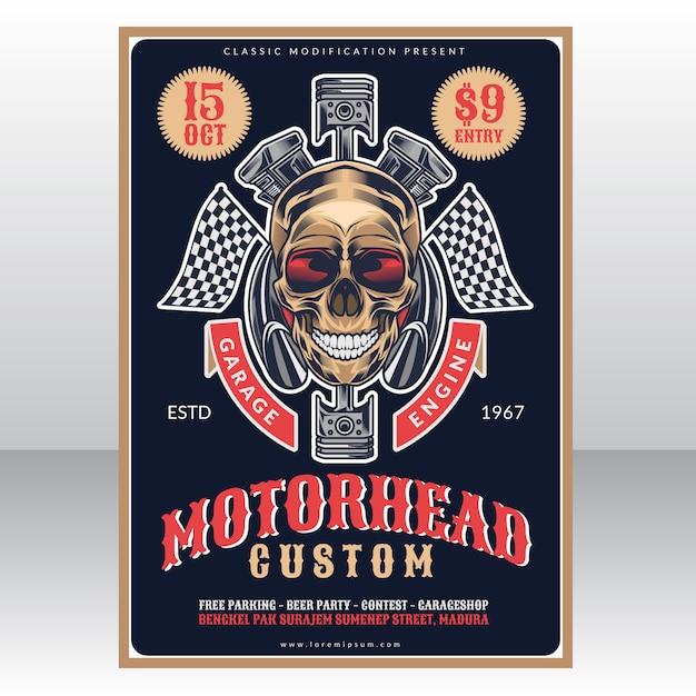 Motor head custom garage vintage poster template Premium Vector