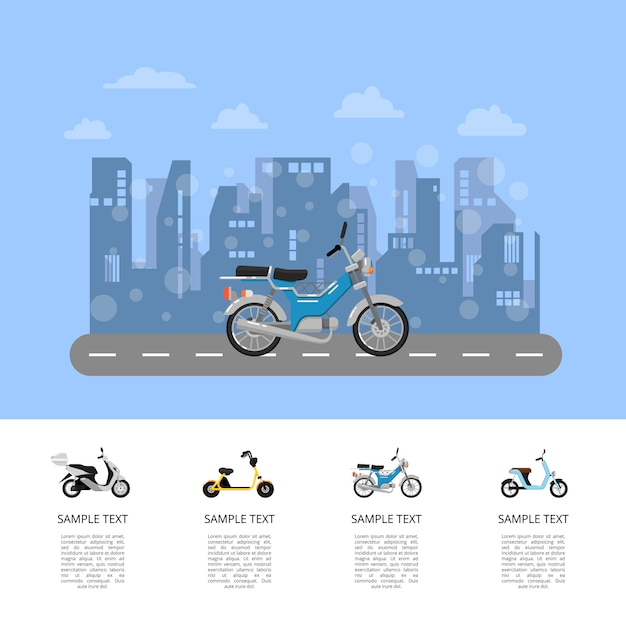 Motor scooter on road poster in flat style Premium Vector