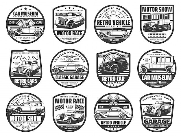Motor show, retro cars races and museum icons Premium Vector