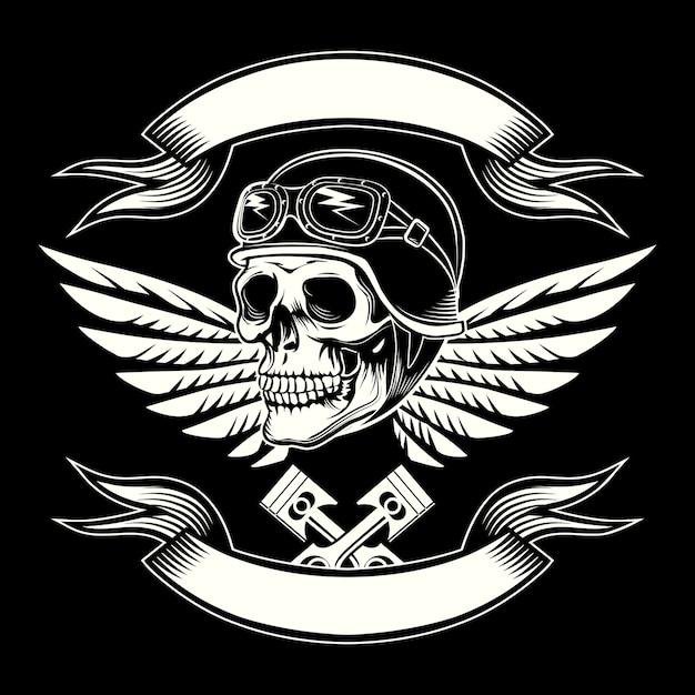 Эмблема моторного черепа Бесплатные векторы