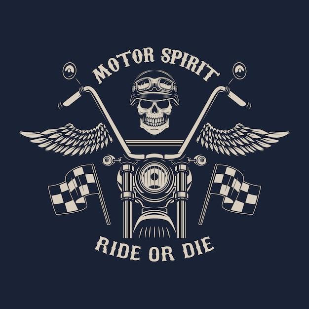 Моторный дух. катайся или умри. мотоцикл с крыльями. гонщик череп. элемент для плаката, эмблемы, знака, значка. иллюстрация Premium векторы