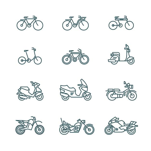 Motorbike icons Premium Vector