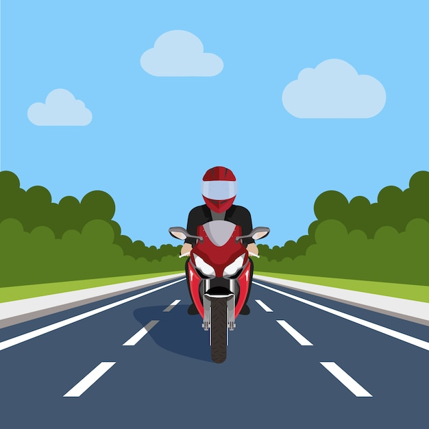 Motorbike on the road design Free Vector