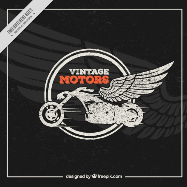 Motorbike with wings background in vintage style Free Vector