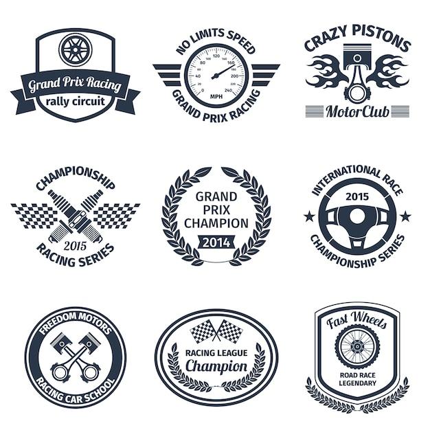 Гран-при гонки сумасшедшие поршни motorclub черные эмблемы набор изолированных векторной иллюстрации Бесплатные векторы