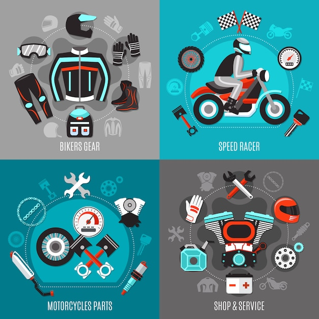 Motorcycle 2x2  concept Free Vector