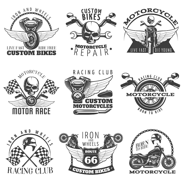 Motorcycle black emblem set with descriptions of custom bikes live fast die young racing club born to ride vector illustration Premium Vector