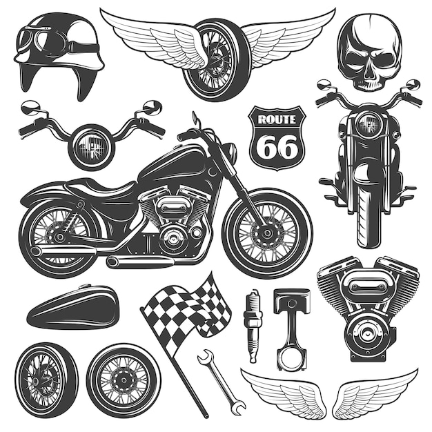 Motorcycle black isolated icon set with recognizable objects and attributes of bikers vector illustration Premium Vector
