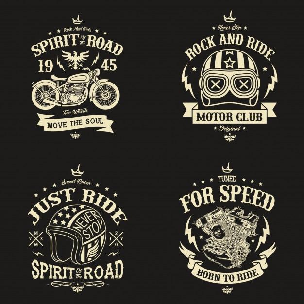 Motorcycle club badges design Premium Vector