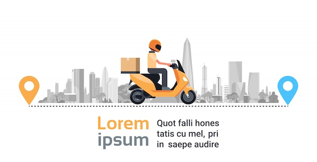 Motorcycle delivery service, man courier riding scooter with box parcel over big silhouette city Premium Vector