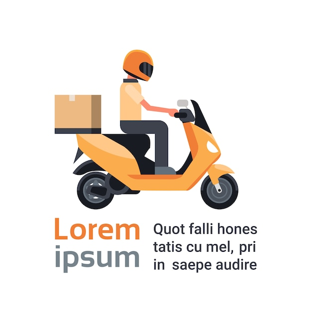 Motorcycle delivery service, man courier riding scooter with box parcel over template Premium Vector