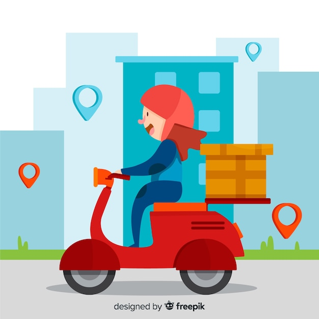 Motorcycle delivery, Free Vector