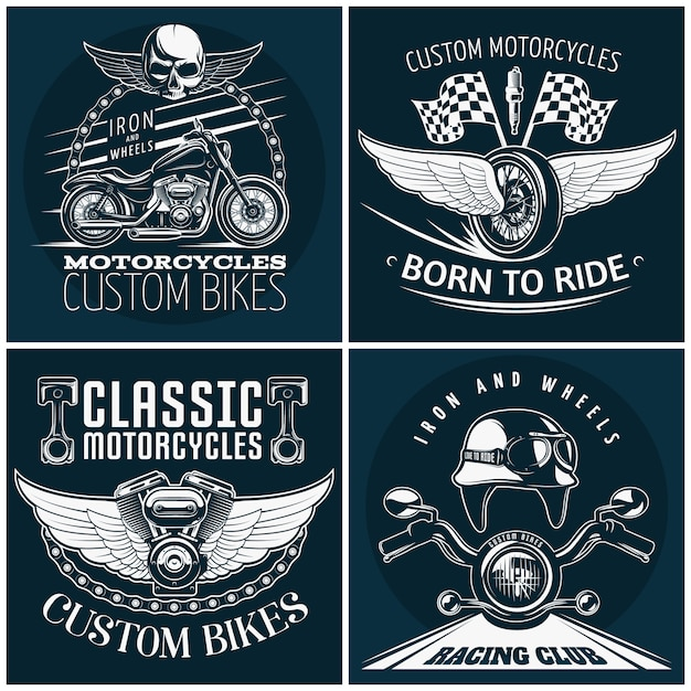 Motorcycle detailed emblem set with descriptions of custom bikes born to ride classic motocycles and racing club vector illustration Free Vector