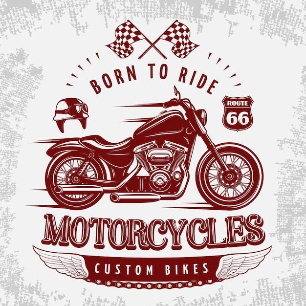 Мотоцикл серая иллюстрация с бордовый велосипед на дороге и заголовок родился, чтобы ездить Бесплатные векторы