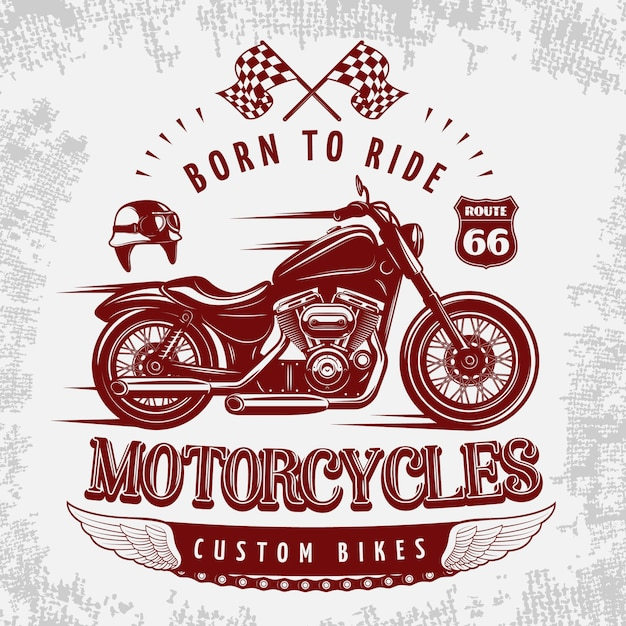 Motorcycle grey illustration with vinous bike on road and headline born to ride Free Vector