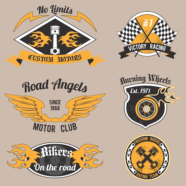 Motorcycle grunge no limits custom motors\ design badges set isolated vector illustration.
