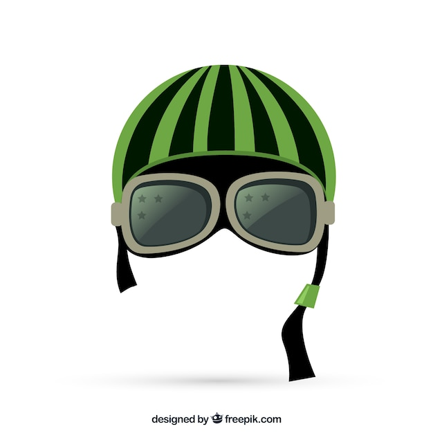 Motorcycle Helmet With Goggles Free Vector